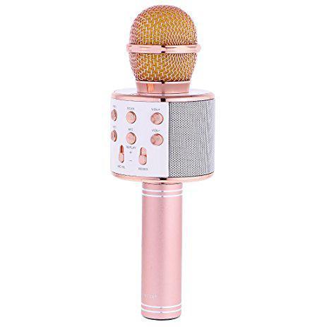 Беспроводной микрофон караоке 858 Золото-Розовый