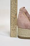 Модные замшевые женские босоножки-эспадрильи, бежевые. 38 размер.Модні замшеві босоножки-еспадрільї, світлі., фото 6