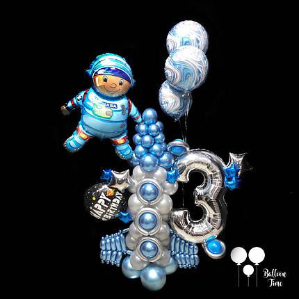 Космическая композиция с цифрой из воздушных шаров, фото 2