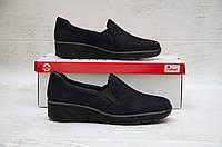 Зручні замшеві туфлі жіночі 42 розмір Rieker синие 53766-18
