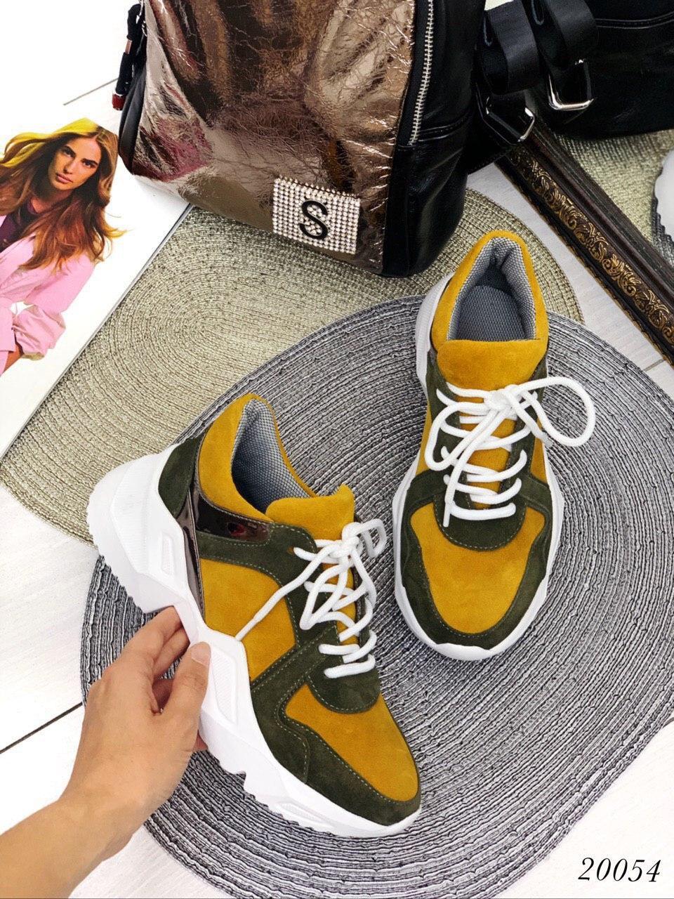 Кроссы цветные вставки жёлтые замш В наличии и под заказ
