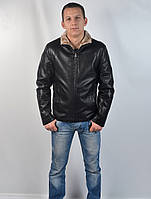 Кожаная теплая мужская зимняя куртка на меху (черная)