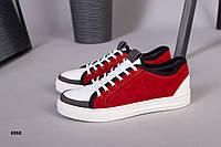 Кросівки дитячі підліткові червоні з білим, фото 1