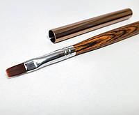 Плоская кисть для геля на на деревянной ручке №6