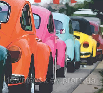 "Картина по номерам. Rosa ""Яркие ретро автомобили"" 35х45см N00013237"
