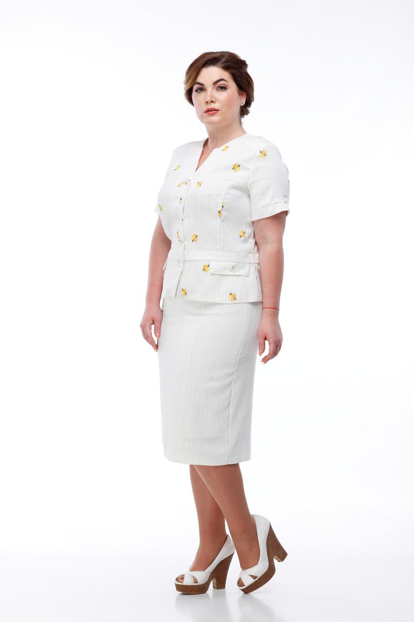 Легкий светлый льняной женский костюм пиджак и юбка летняя изо льна в цветочек, размер от 48 до 56