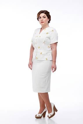 Легкий светлый льняной женский костюм пиджак и юбка летняя изо льна в цветочек, размер от 48 до 56, фото 2