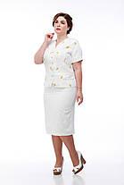 Легкий светлый льняной женский костюм пиджак и юбка летняя изо льна в цветочек, размер от 48 до 56, фото 3
