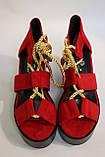 Модные красные босоножки замшевые, на танкетке. Модні червоні босоніжки замшеві, на танкетці., фото 5