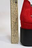 Модные красные босоножки замшевые, на танкетке. Модні червоні босоніжки замшеві, на танкетці., фото 6