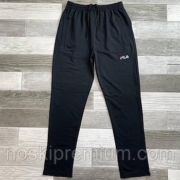 Штани спортивні чоловічі бавовна без манжета Fila, розміри 46-54, чорні, БМ 0115/04