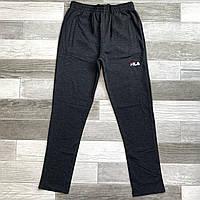 Штаны спортивные мужские хлопок без манжета Fila, размеры 46-54, тёмно-серые, БМ 0115/07, фото 1