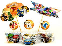 """Набір для капкейків: """"Лего Ниндзяго"""" топпери і накладки на кошики (8+8+1+1)-малотиражні видання-"""