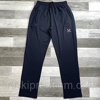 Штани спортивні чоловічі бавовна без манжета Under Armour, розміри 46-54, темно-сині, БМ 0115/08
