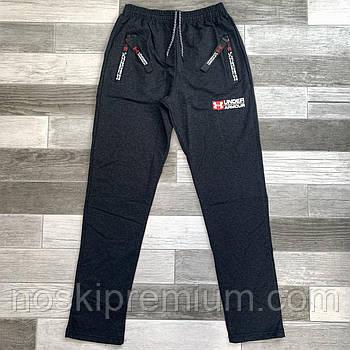 Штани спортивні чоловічі бавовна без манжета Under Armour, розміри 46-54, темно-сірі, БМ 0130/04