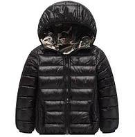 Куртка демисезонная двусторонняя детская Черный камуфляж Berni