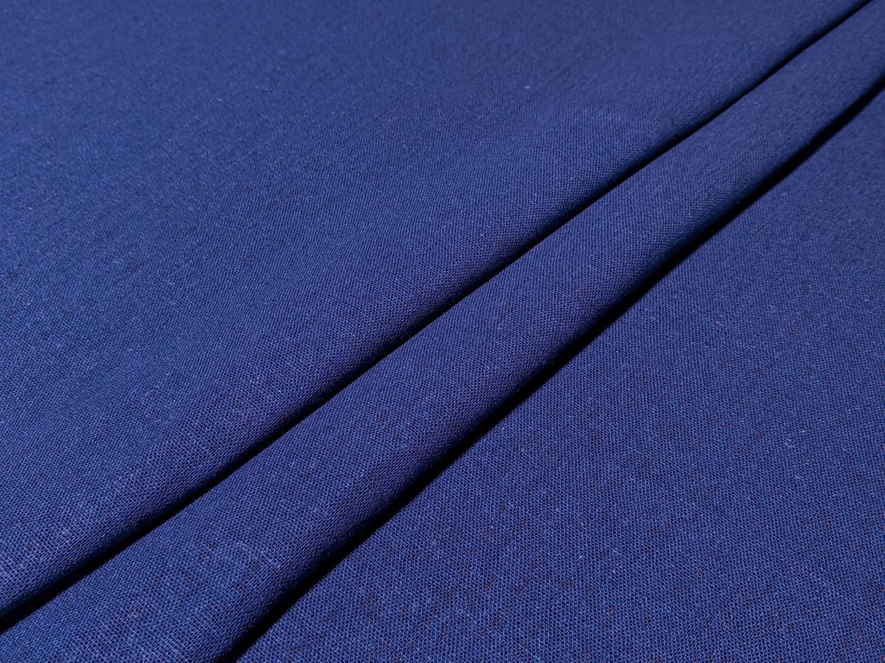 Лен однотонный, синий