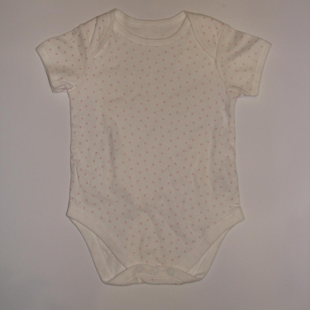 Боди для девочки короткий рукав белый в розовую крапочку Early Days р.12-18мес (86см)