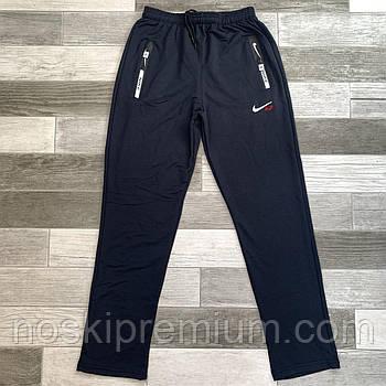 Штани спортивні чоловічі бавовна без манжета Nike, розміри 46-54, темно-сині, БМ 0130/01