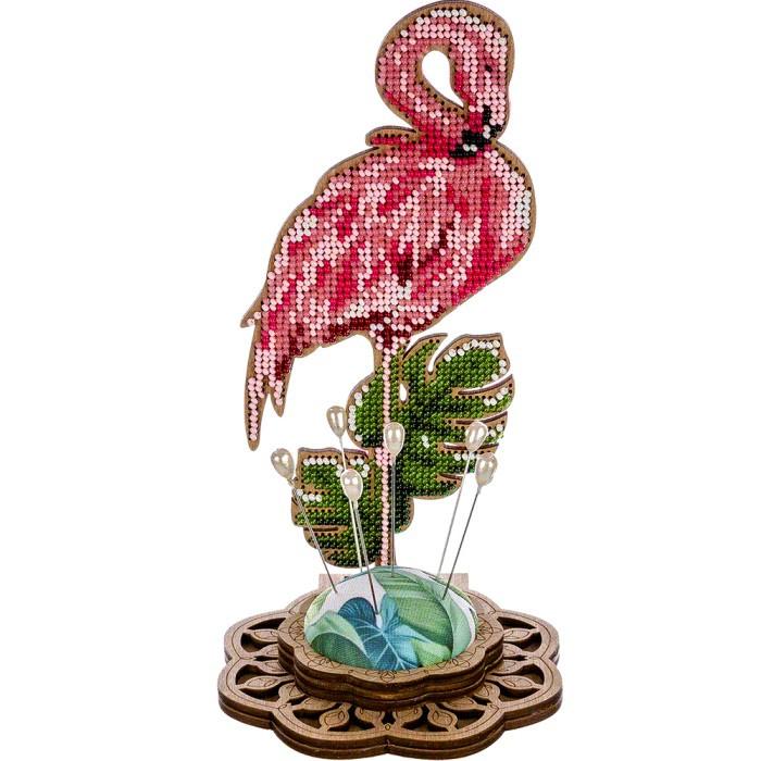 Игольница набор для вышивки бисером Фламинго