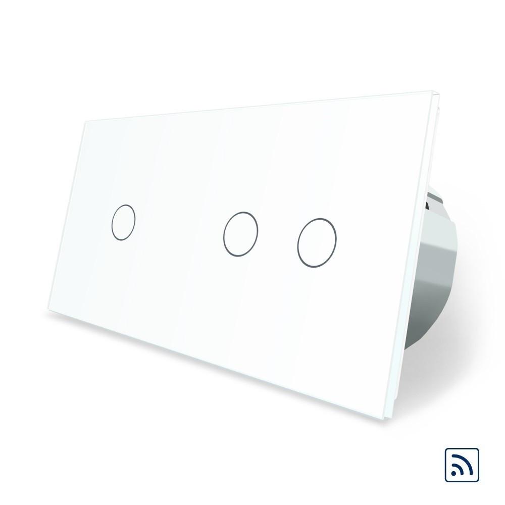 Сенсорний вимикач Livolo 1+2 з функцією ДУ, білий (VL-C701R/C702R-11)