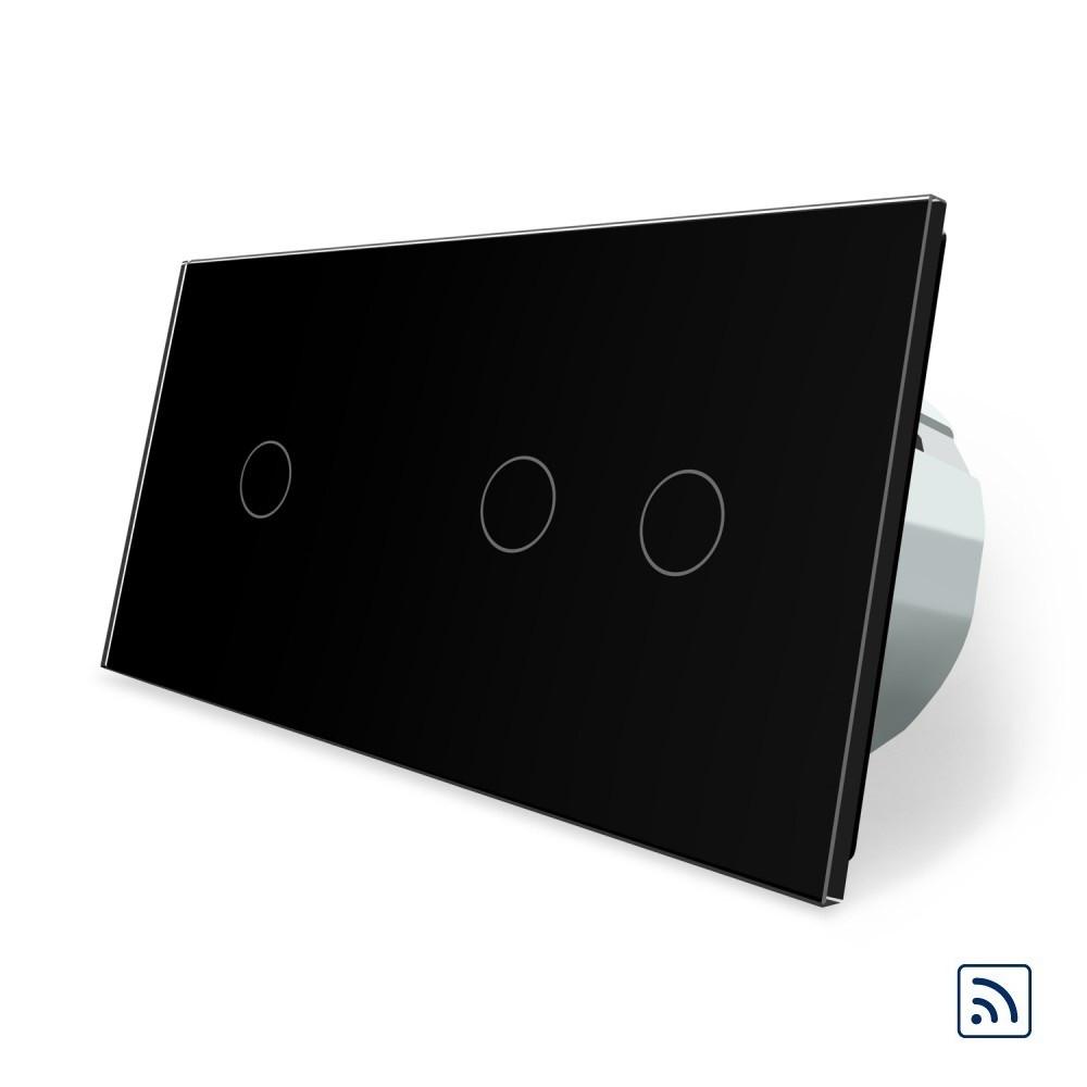 Сенсорный радиоуправляемый выключатель 3 канала (1-2) Livolo черный стекло (VL-C701R/C702R-12)