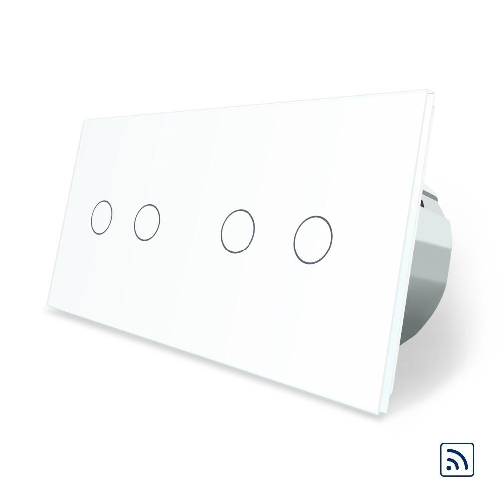 Сенсорный радиоуправляемый выключатель Livolo 4 канала (2-2) белый стекло (VL-C702R/C702R-11)