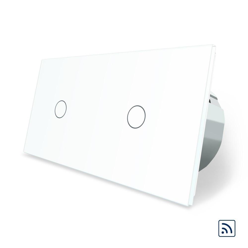 Двухсенсорный выключатель Livolo 1+1 с функцией ДУ, белый, стекло (VL-C701R/C701R-11)