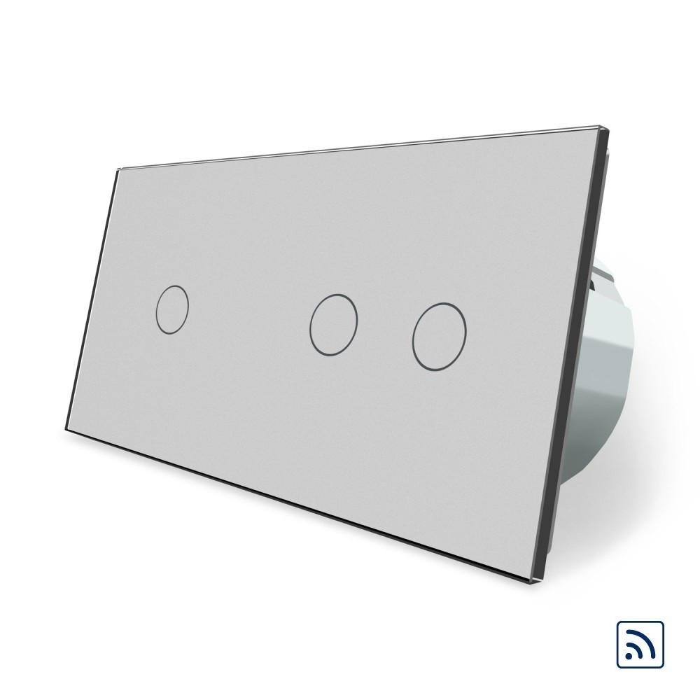 Сенсорный радиоуправляемый выключатель 3 канала (1-2) Livolo серый стекло (VL-C701R/C702R-15)