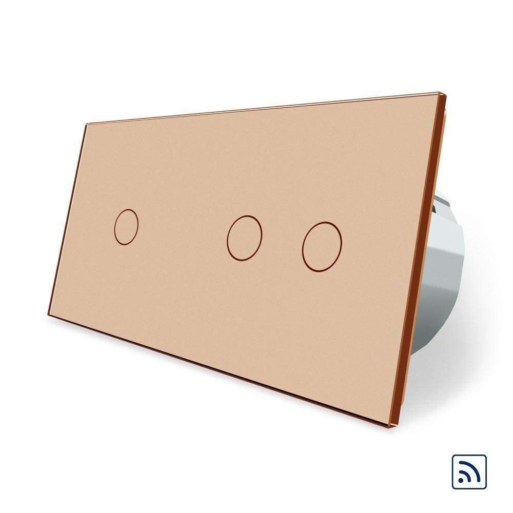 Сенсорный радиоуправляемый выключатель 3 канала (1-2) Livolo золото стекло (VL-C701R/C702R-13)