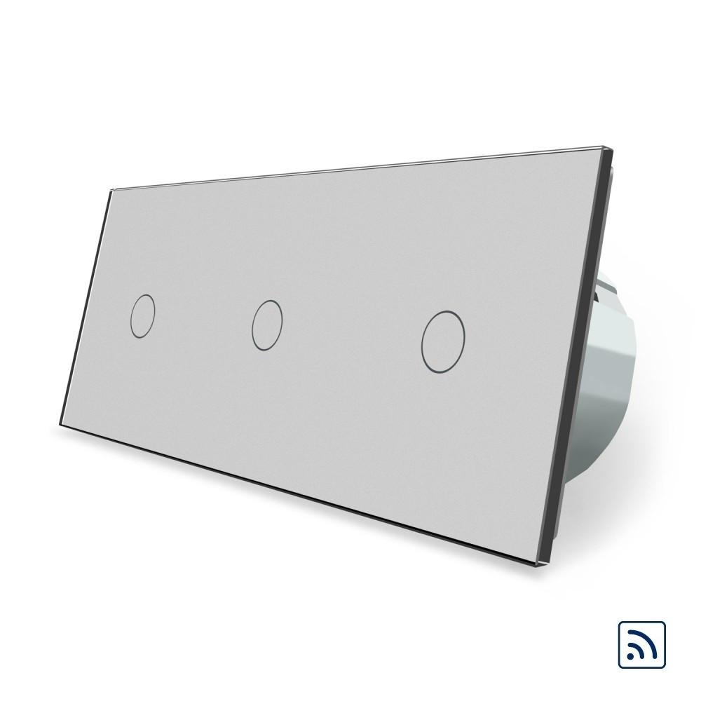 Сенсорный радиоуправляемый выключатель Livolo 3 канала (1-1-1) серый стекло (VL-C701R/C701R/C701R-15)