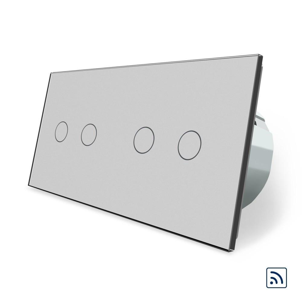 Сенсорный радиоуправляемый выключатель Livolo 4 канала (2-2) серый стекло (VL-C702R/C702R-15)