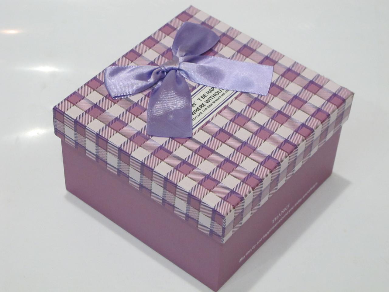 Коробочка праздничная упаковочная (подарочная) клетка, бант (L)