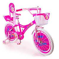 Детский розовый велосипед BARBIE 18 дюймов БАРБИ с корзинкой и боковыми колесами от 6 лет