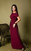 Платье в пол свободного силуэта по типу кимоно цвета марсала, фото 1