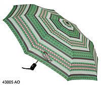 Женский зонт полуавтомат зеленый геометрия
