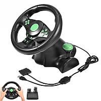 Игровой руль с педалями 3в1USB Vibration Steering Wheel PS3/PS2/PC Xbox 360 + технологя Vibration Feedback