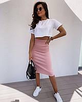 """Модный женский летний костюм юбка миди карандаш+топ """"Trisha"""", размеры С, М, двухнитка, жіночий костюм"""