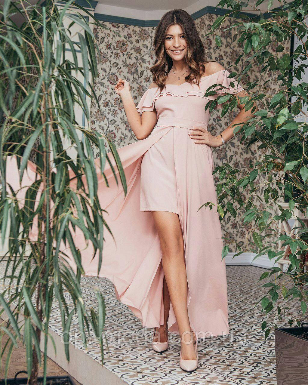 Шикарное романтичное женское платье с ассиметричной юбкой и открытыми плечами, S/M/L/, софт, цвета