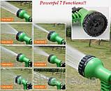 Шланг садовый поливочный X-hose 22,5 метра зеленый/синий растягивающийся шланг для полива Икз Хоз + насадка, фото 6