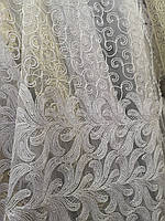 Тюль с жгутовым декором корд белый Турция