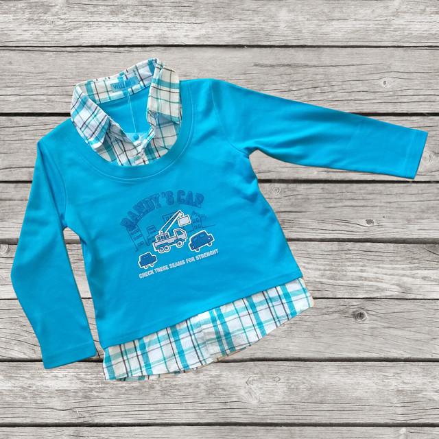 Качественная рубашка-обманка для мальчика трикотажная садик голубая