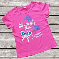 Красивая футболка для девочки 1-3 года малиновая с принтом