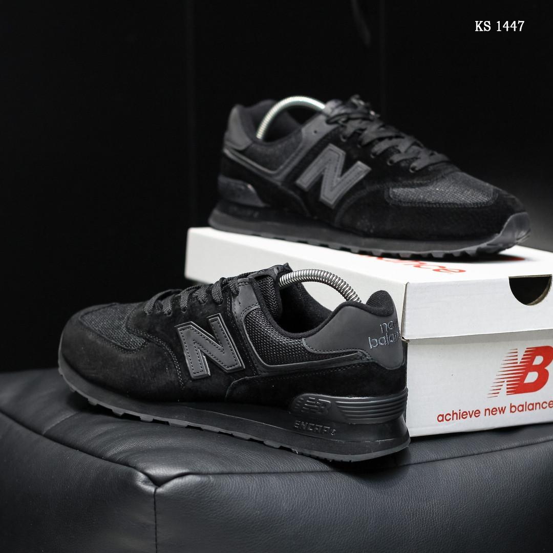 Замшевые мужские кроссовки New Balance 574 (черные) KS 1447