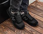 Замшевые мужские кроссовки New Balance 574 (черные) KS 1447, фото 4