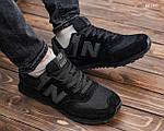 Замшевые мужские кроссовки New Balance 574 (черные) KS 1447, фото 8