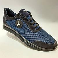 46 р. Мужские летние кроссовки (больших размеров) Кожа+сетка черные с синей сеткой Последняя пара