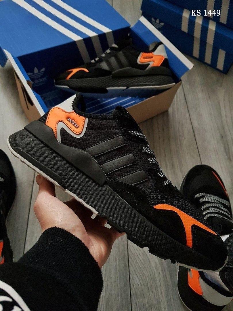 Мужские кроссовки Adidas Nite Jogger (черно-оранжевые) KS 1449