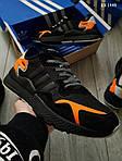 Мужские кроссовки Adidas Nite Jogger (черно-оранжевые) KS 1449, фото 4