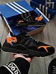 Мужские кроссовки Adidas Nite Jogger (черно-оранжевые) KS 1449, фото 5